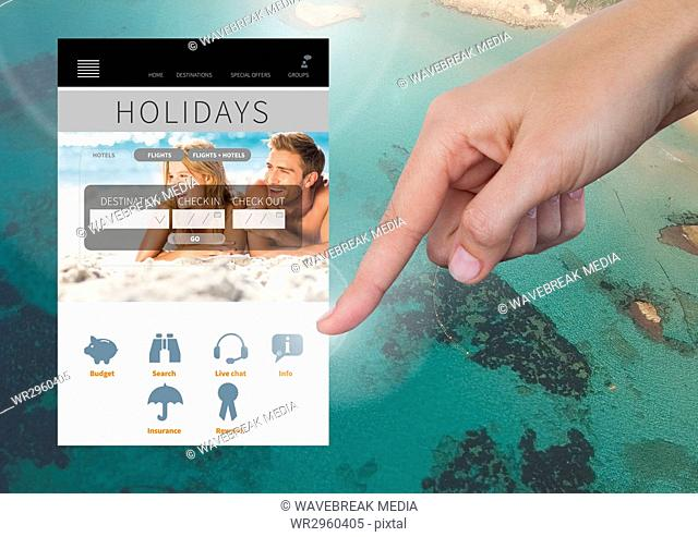 Hand Touching Holiday break App Interface with sea