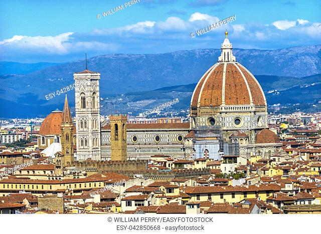 Campanile Baptistry Dome Golden Cross Duomo Cathedral Church Florence Tuscany Italy. Finished 1400s. Formal name Cathedral di Santa Maria del Fiore