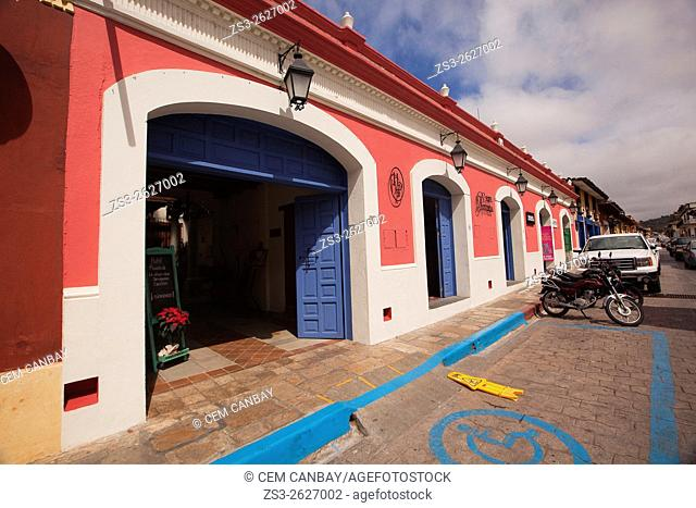 Colorful colonial building used as a hotel, San Cristobal de las Casas, Chiapas State, Mexico, North America