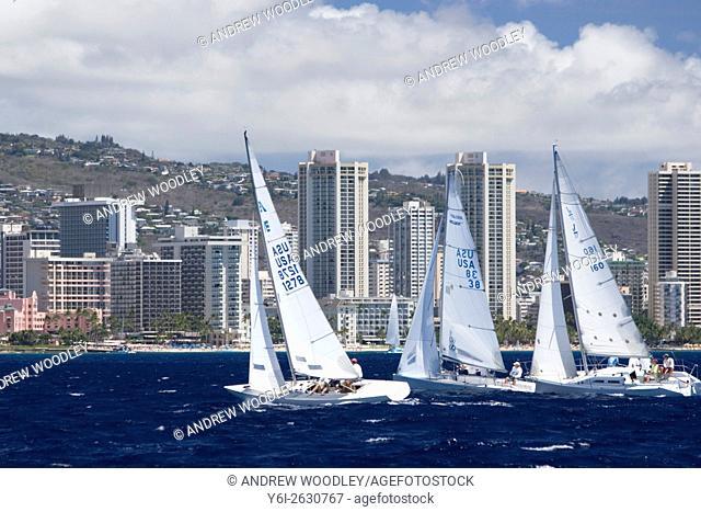 Yacht racing off Waikiki Beach Honolulu Hawaii USA
