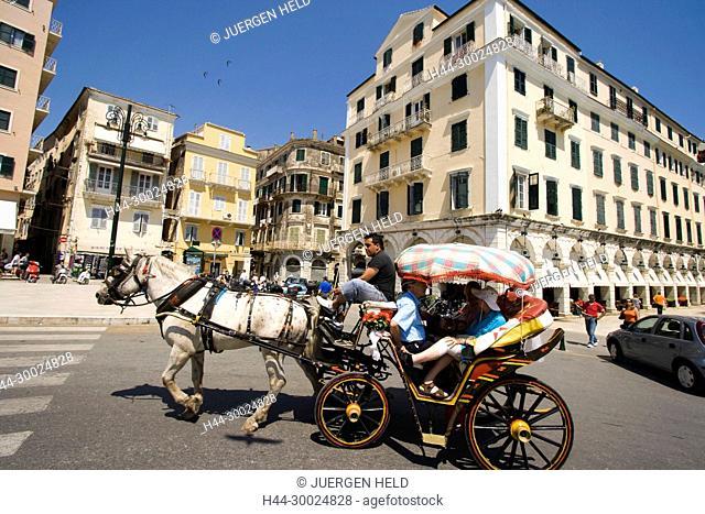 carriage, city center, coach, Corfu, culture, Esplanade, EU, Europa, Europaeische Union, europe, greece, greek, Griechenland, Griechische Inseln, hellas, horse