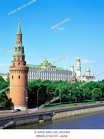 Tower and Kremlin buildings on Volga river, Moscow, Central Federal District, Russia