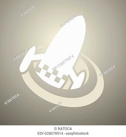 Creative design of imaginative spaceship icon