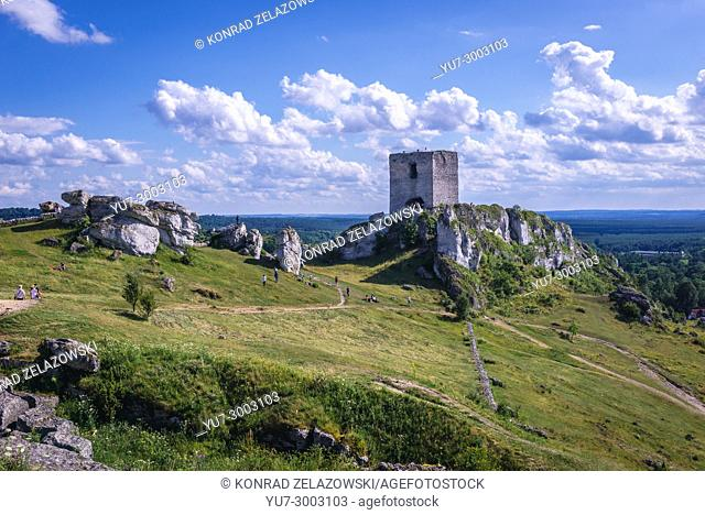Main tower of 14th century castle in Olsztyn village, part of Eagles Nests castle system in Silesian Voivodeship of southern Poland