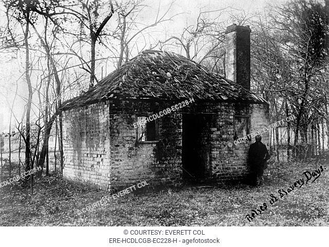 Slavery, original title: 'Relics of slavery days', Slave quarters at the Hermitage Plantation outside of Savannah, Georgia, 1900