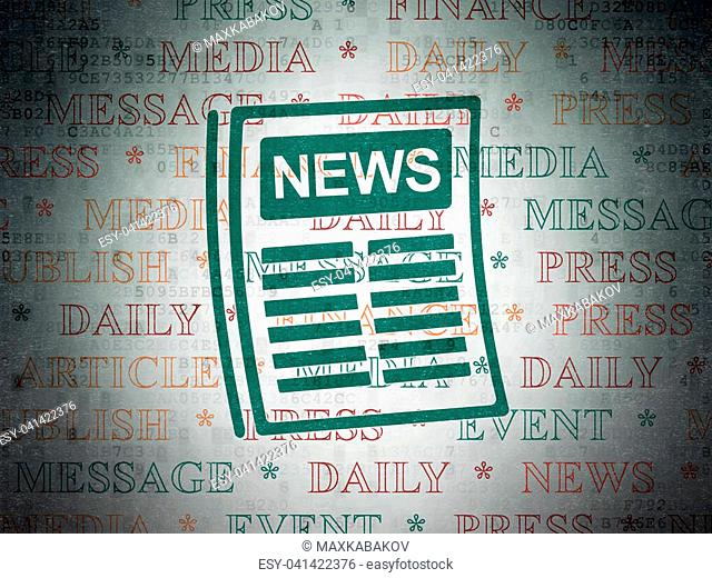 News concept: Painted green Newspaper icon on Digital Data Paper background with Tag Cloud