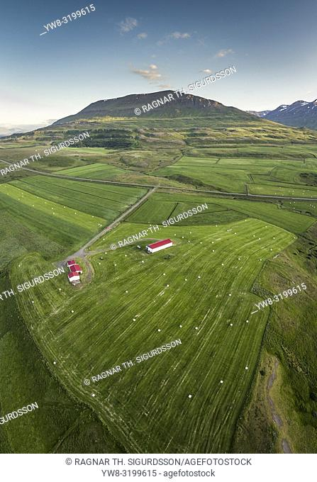Farmland, Eyjafjordur, Iceland. This image is shot using a drone