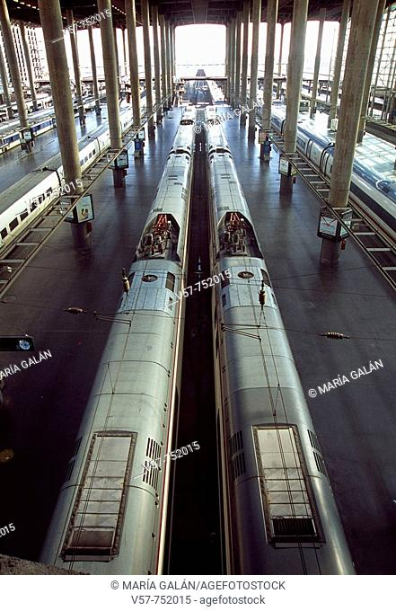 Puerta de Atocha railway station, view from above, Madrid, Spain