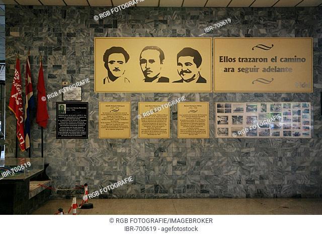 Plaques commemorating revolutionary heroes Adolfo Delgado Rodríguez, José Maria Pérez Capote and Ramón Rodriguez Milan at a train station in Havana, Cuba