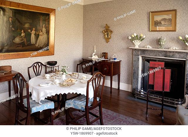 Dining room in the 18th-century Rosehill House, home of a Quaker family of ironmasters at Coalbrookdale in the Ironbridge Gorge, Shropshire, England