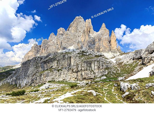 Views of the Three Peaks of Lavaredo on a summer day. Sesto Dolomites Trentino Alto Adige Italy Europe