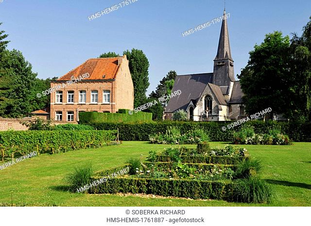 France, Nord, Englos, church Sainte Marie-Madeleine and its park