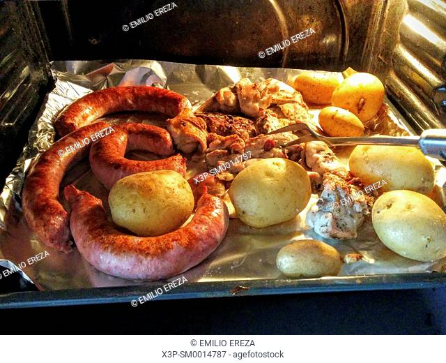Food in an oven