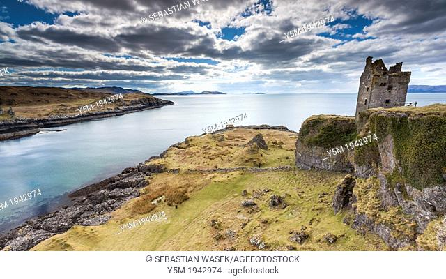 A view towards Gylen Castle, Kerrera Island, Argyll and Bute, Scotland, UK, Europe