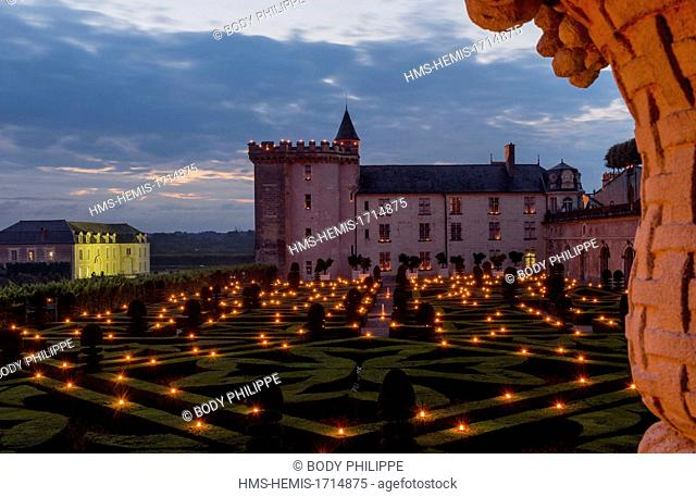 France, Indre et Loire, the Loire Valley, Castle and Gardens of Villandry, One thousand lights Night