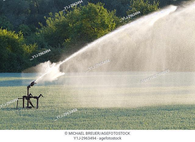 Irrigation plant on grain field, Hesse, Germany, Europe