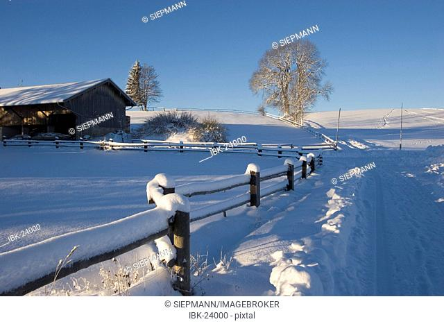 Snow covered landscape Peretshofen Upper Bavaria Germany