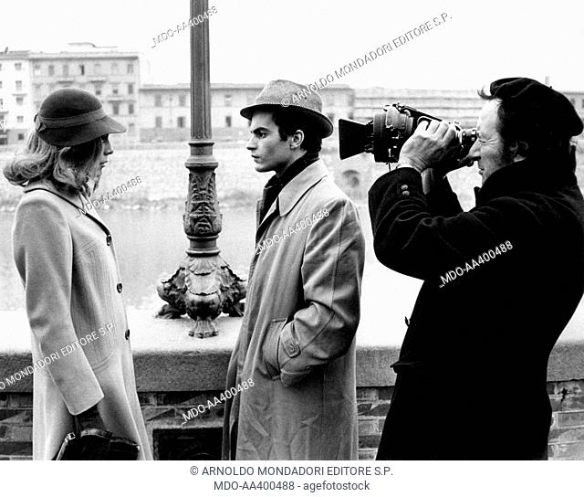 Donatello, Mara Venier and Sergio Capogna on the set of Diary of an Italian. Italian director Sergio Capogna filming Italian singer Donatello (Giuliano Illiani)...
