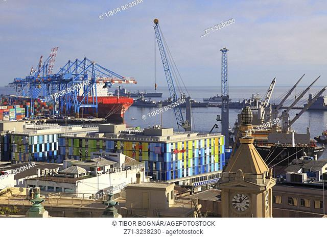 Chile, Valparaiso, harbor, ships, cranes, containers, Ibis hotel,