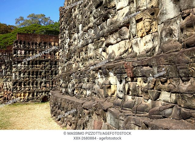 Terrace of the Leper King in Angkor Thom, Siem Reap, Cambodia