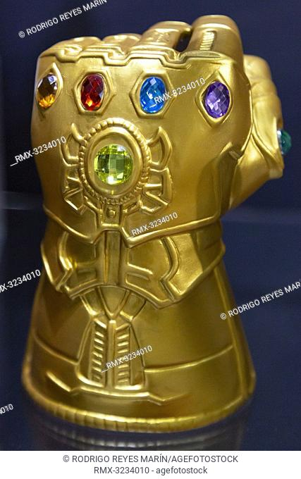 February 13, 2019, Tokyo, Japan - Thanos' Infinity Gauntlet on display during the 87th Tokyo International Gift Show (TIGS) Spring 2019 in Tokyo Big Sight