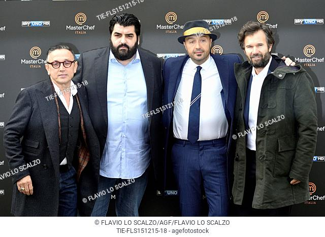 The Chefs Bruno Barbieri, Antonino Cannavacciuolo, Joe Bastianich, Carlo Cracco during the photo call of the fifth edition of tv programme Masterchef Italy
