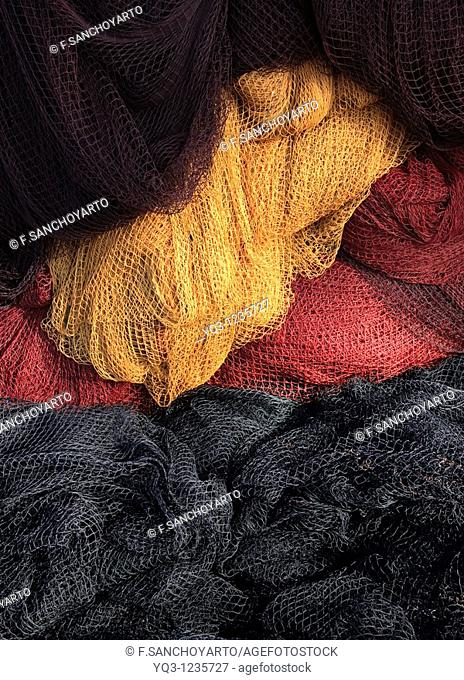 Fishing nets at port, Castro Urdiales, Cantabria, Spain