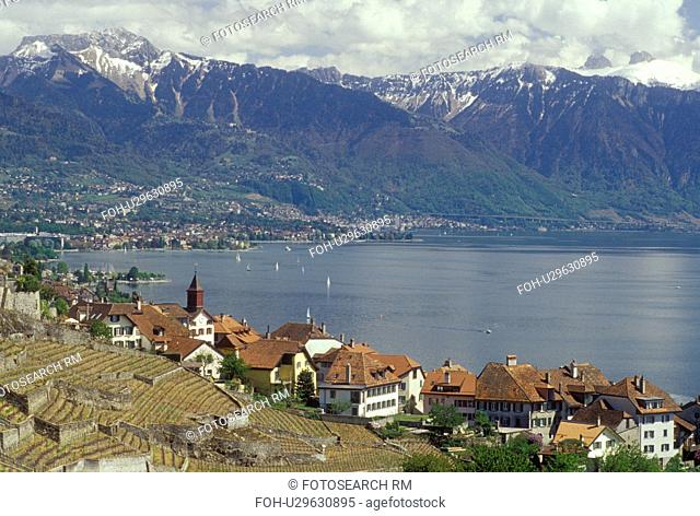 Switzerland, Lavaux, Lake Geneva, Vaud, Alps, Europe, Scenic view of the village of Rivaz surrounded by vineyards and the Alps along the lakeshore of Lac Leman...