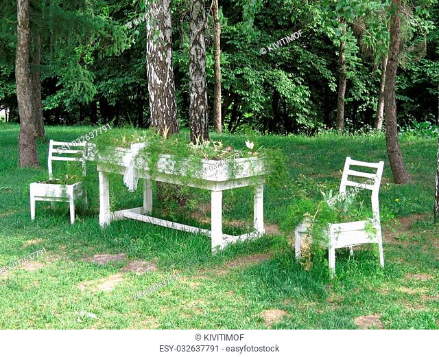Table and chairs in the park as flowerbeds