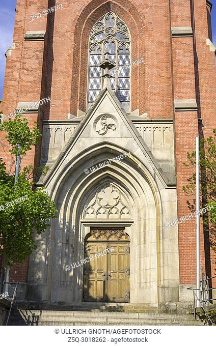 Main portal of the catholic parish church St. Nikolaus in Zwiesel, Bavarian Forest, Bavaria, Germany