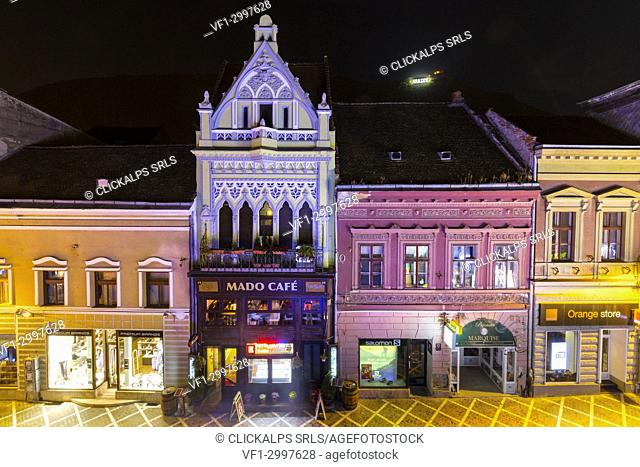 Republicii road by night, Brasov district, Transylvania, Romania