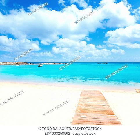Els Pujols Formentera white sand beach turquoise water in Balearic islands