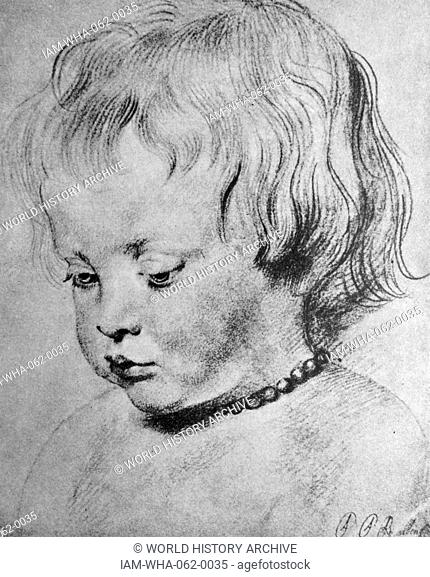 Chalk illustration of Nicholaas Rubens wearing a coral Necklace. By Peter Paul Rubens (1577-1640) Flemish Baroque painter. Dated 1619