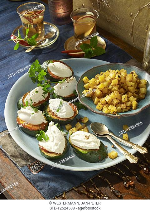 Italian zucchini with feta cheese and spicy potato cubes (Christmas)