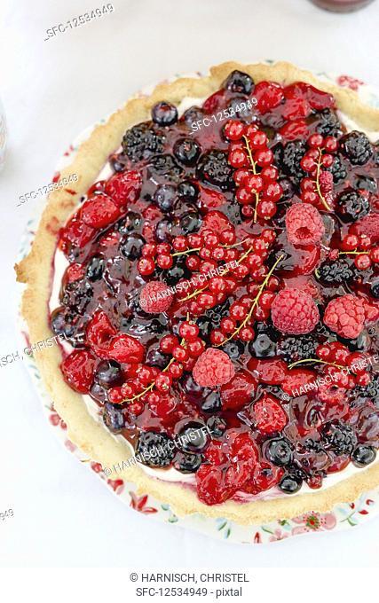 A summer berry tart (seen from above)