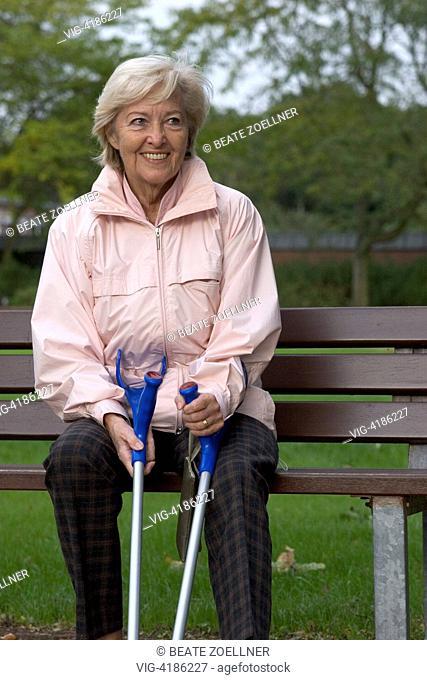 handicapped senior citizen with crutches - Reha-Klinik, Schleswig-Holstein, Germany, 08/10/2006