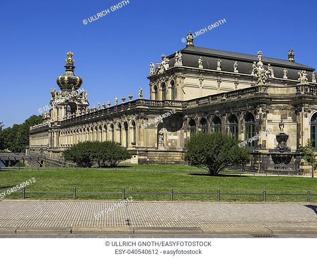 The Zwinger Palace with the Kronentor Gate in the city of Dresden, Saxony, Germany