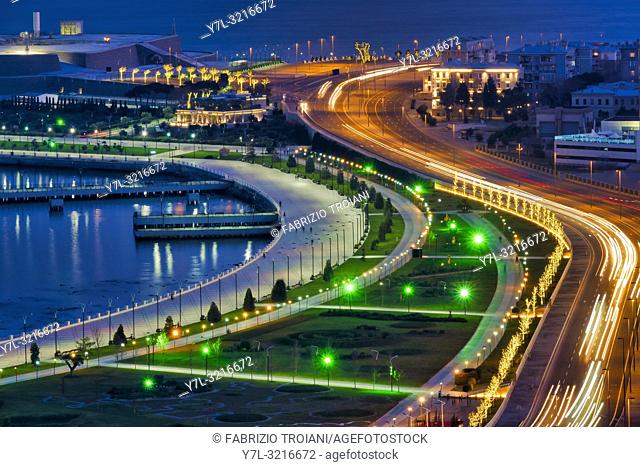 Boulevard at night, Baku, Azerbaijan