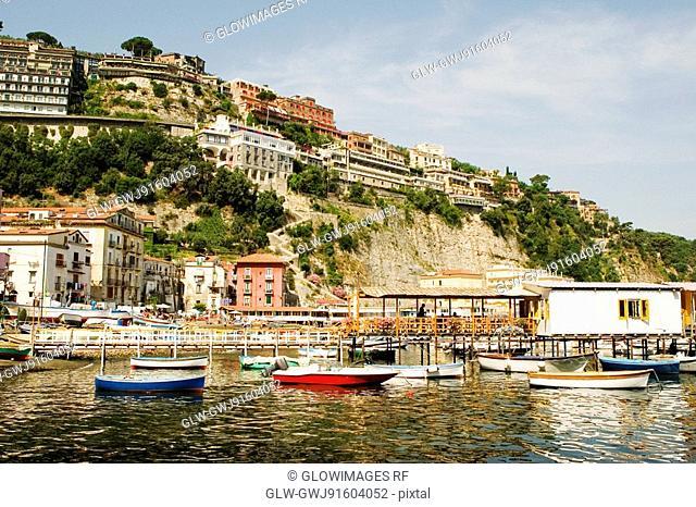 Boats moored near a pier, Marina Grande, Capri, Sorrento, Sorrentine Peninsula, Naples Province, Campania, Italy