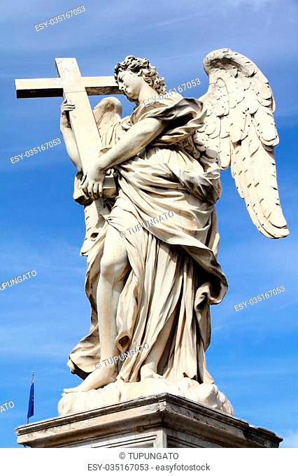 Angel in Rome, Italy. One of the angels at famous Ponte Sant' Angelo bridge. Baroque sculpture by Ercole Ferrata