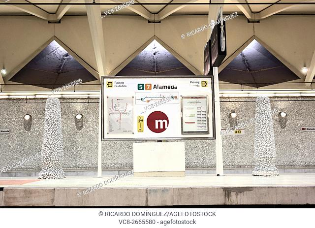 Information table at the Alameda metro station. Valencia, Spain