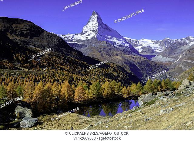Matterhorn and Grindjisee lake in Autumn,Zermatt, Switzerland, europe