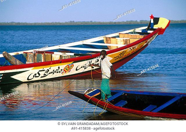 Fishing outriggers. Saint-Louis on river Senegal (former capital). Senegal