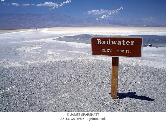 Badwater sign in desert below sea level