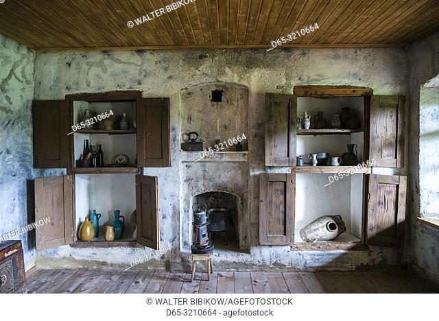 Georgia, Kakheti Area, Mirzani, Pirosmani House, home of famous Georgian Painter Niko Pirosmani, interior, NR