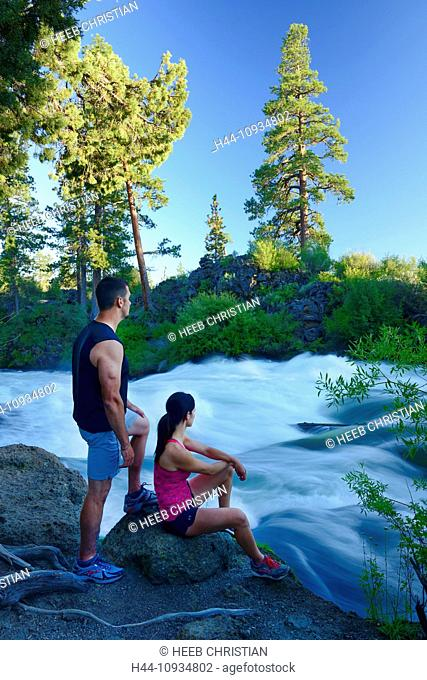 USA, United States, America, North America, Pacific Northwest, Cascade Mountains, Deschutes, National Forest, Dillon Falls, River, Dillon Falls, flow, swift