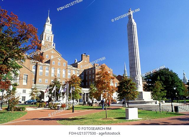 Providence, Rhode Island, RI, County Courthouse and War Memorial from Gardner Jackson Park in downtown Providence in the fall