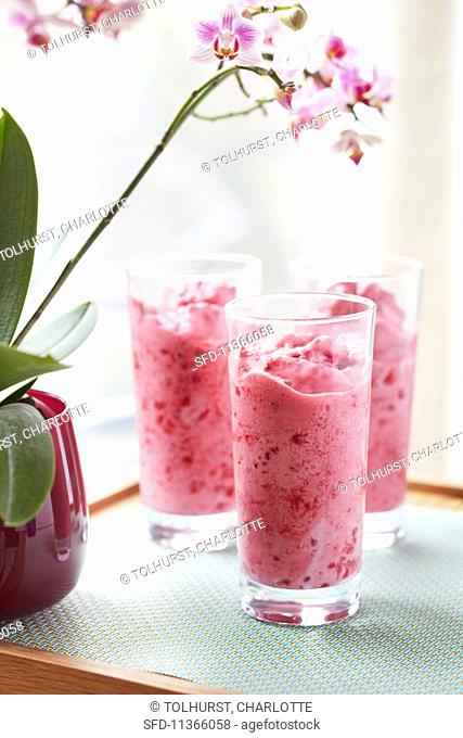 Ice cold raspberry smoothies