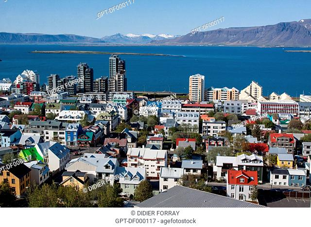GENERAL VIEW OF REYKJAVIK CITY CENTRE AND THE KOLLAFJORDUR FJORD FROM THE TOWER OF HALLGRIMSKIRKJA CATHEDRAL, REYKJAVIK, ICELAND