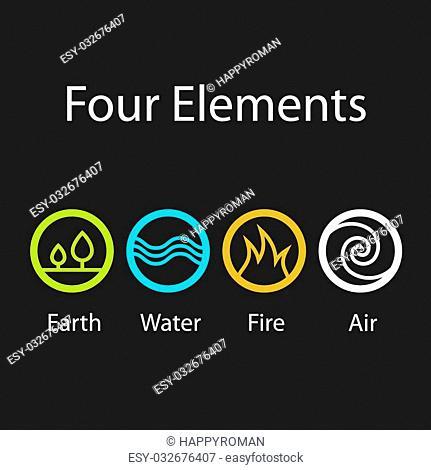four natural elements symbols - illustration for the web